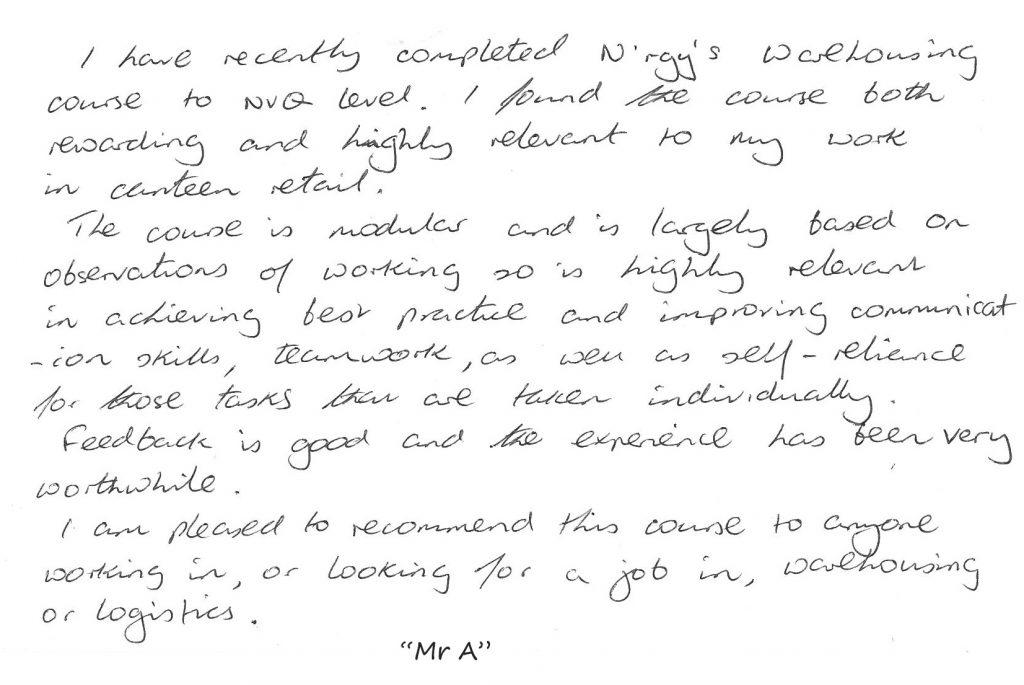 Mr A Learner Testimonial
